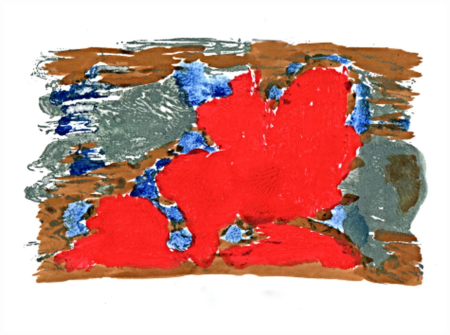 Jan Dočekal: Kontinenty v Červeném moři, akryl na papíře, 21 x 29 cm, 2020. Foto: Jan Dočekal.