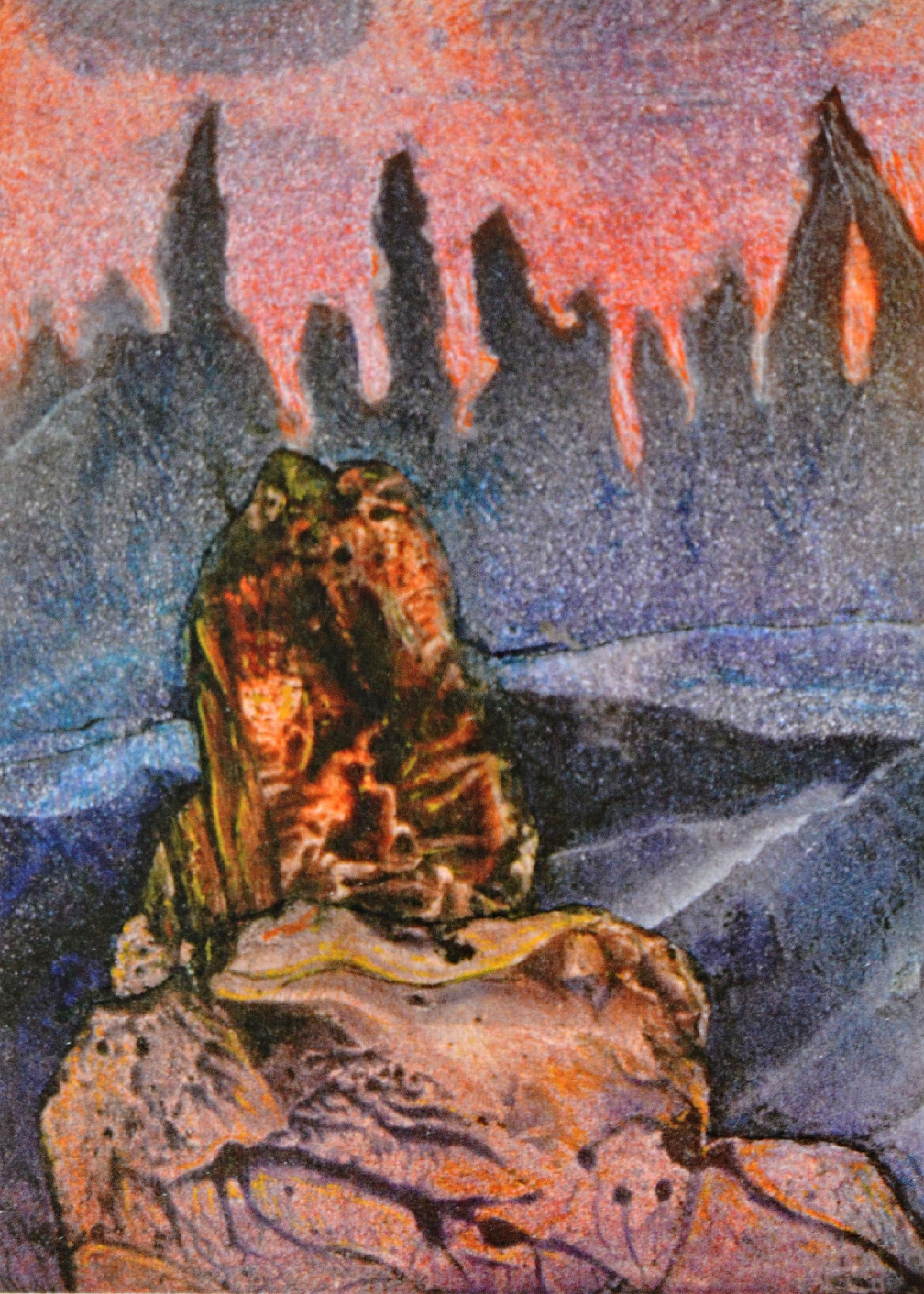 Josef Kremláček: ilustrace k francouzsko-české bibliofilii Arnošta Budíka Les îles perdues, Ztracené ostrovy, Amaprint-Kerndl, Třebíč 2005. Foto: Jan Dočekal