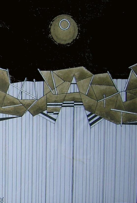 Milan Nestrojil: Planeta a vertikály, akryl, tuš, sépie, 45 x 32 cm. Foto: Jan Dočekal