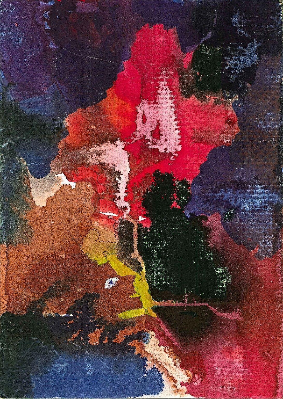 Martin Hronza: Výkřik, dekalk, akvarel, 42 x 30 cm, 2005. Foto: Jan Dočekal