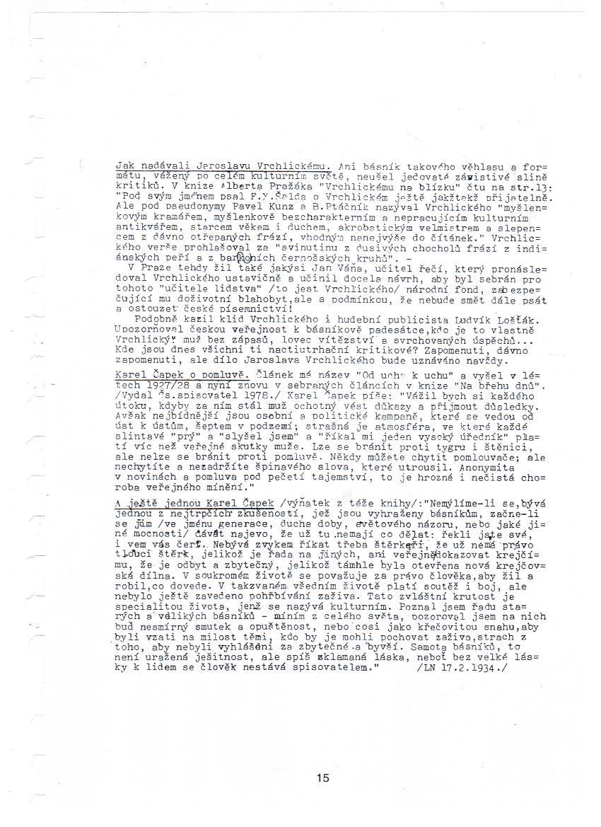 """Druhá strana hromadného Foglarova dopisu z Vánoc 1980, kde vzpomíná, """"jak nadávali"""" Jaroslavu Vrchlickému, a také cituje Karla Čapka – a jeho slova o pomluvě i generačním vytlačování autora autorem."""
