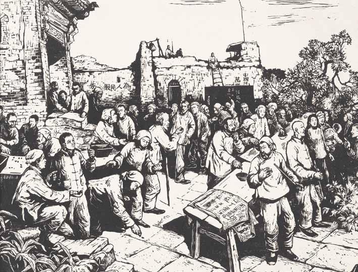 Jen Chan: Hlasování fazolemi (monochromní dřevořez, 27 x 35,5 cm). Ze sbírek Čínského státního muzea výtvarného umění, 1948.