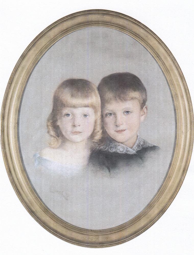 Dětský dvojportrét Sidonie Nádherné s bratrem Karlem ze sbírek Národního muzea, vystaveno ve stálé expozici ve Vrchotových Janovicích. Foto: Národní muzeum
