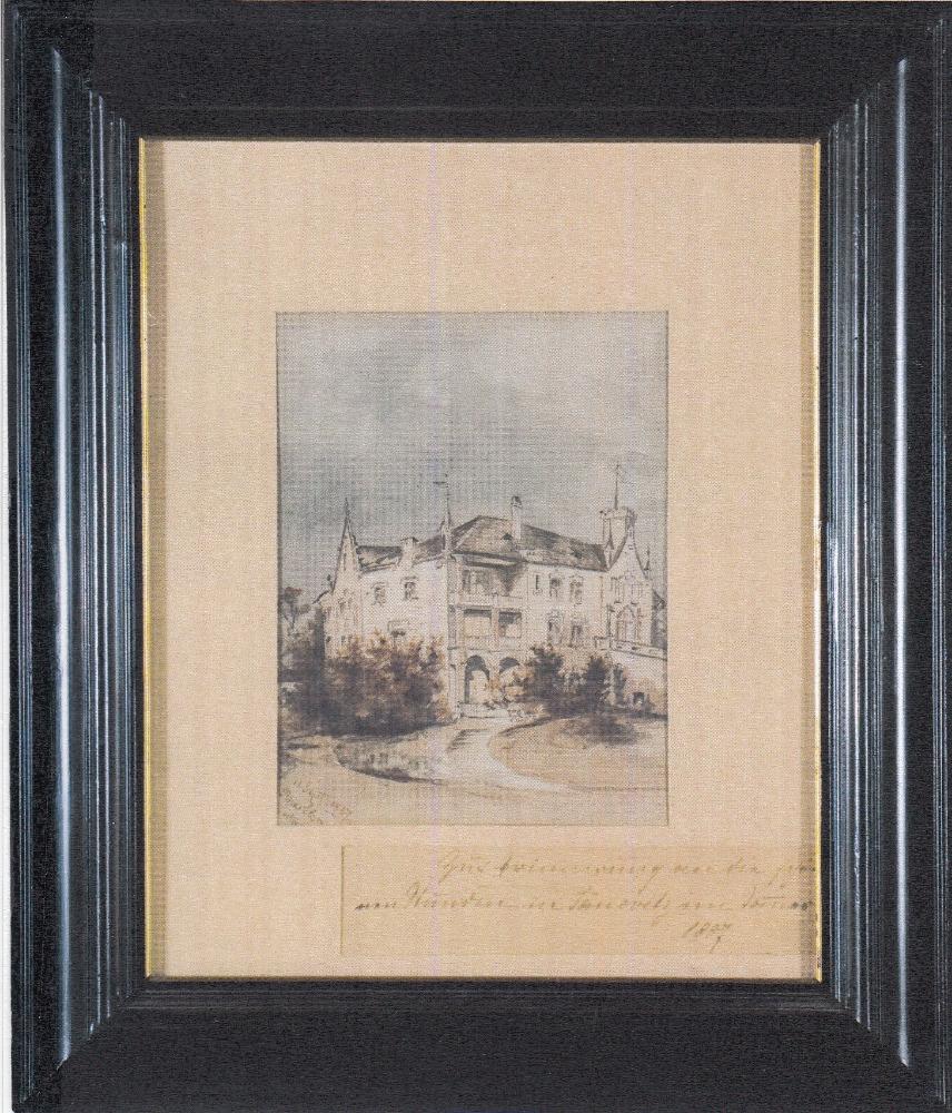 Kresba Janovického zámku ze sbírek Národního muzea, vystaveno ve stálé expozici ve Vrchotových Janovicích. Foto: Národní muzeum